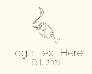 Vintage - Liquid Wine Glass logo design