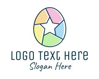 Holiday - Colorful Egg Star logo design