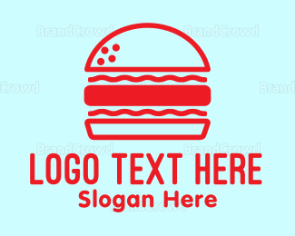 Dine - Red Burger logo design