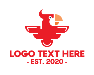 Red Parrot - Modern Red Parrot logo design