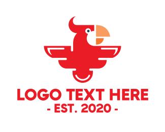 Parrot - Modern Red Parrot logo design