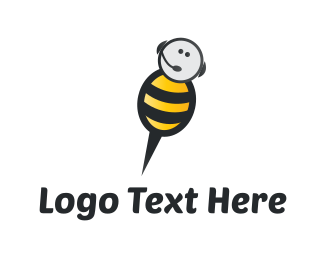 Headset - Bee Call logo design