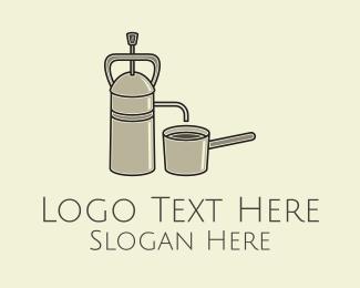 Ground Coffee - Steel French Press logo design