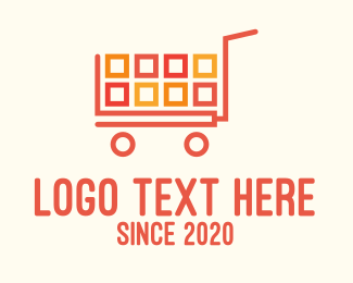 Trolley - Square Blocks Shopping Cart logo design