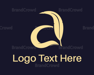 Feather - Feather & Letter  logo design