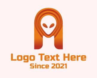Extra Terrestrial - Orange Alien Galaxy  logo design