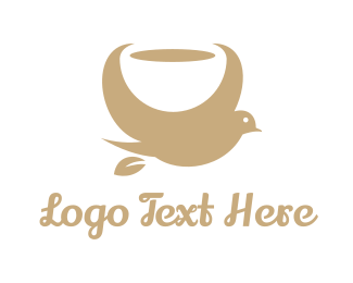 Aviary - Gold Coffee Bird logo design