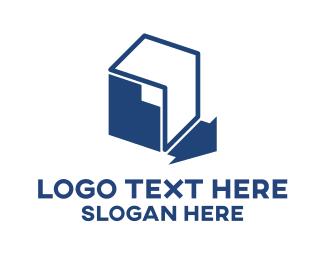Warehouse - Blue Storage logo design