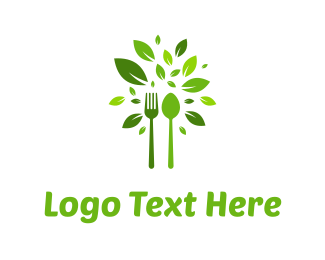 Dining - Green Cutlery logo design