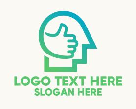 Communications - Thumbs Up Head logo design