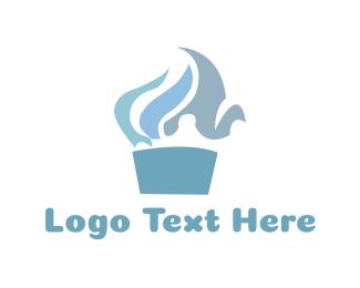 Muffin - Blue Cupcake logo design