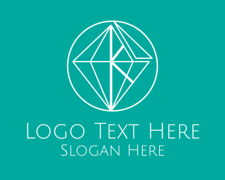 White Diamond Gem Letter K  Logo