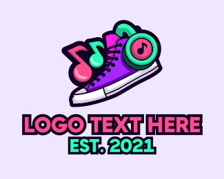 Dj - DJ Headset Shoes logo design