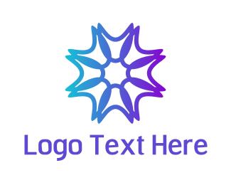 Xenon - Purple Neon Star logo design