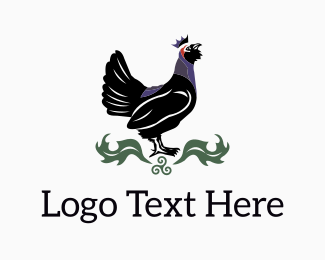 Black Bird - Black Rooster King logo design