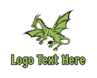 Creature - Green Dragon logo design