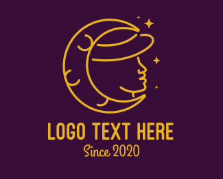 Hat - Woman Moon Hat logo design