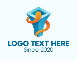 Chimney - 3D Blue Chimney logo design