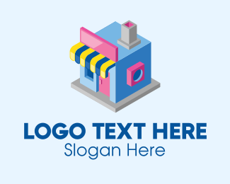 Perspective - Cute 3D Store  logo design