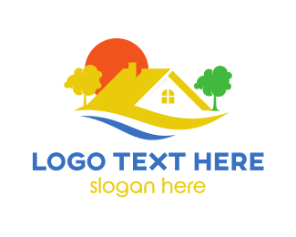 Roof - Yellow Roof House  logo design