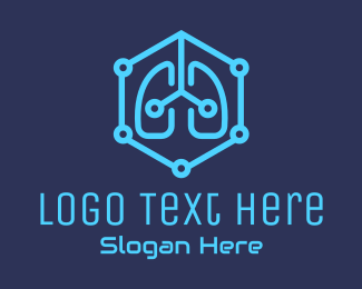 Oxygen - Blue Respiratory Lungs Tech logo design
