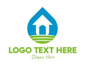 Water Droplet - Eco Housing Property logo design