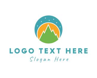 Trekking - Night Landscape logo design