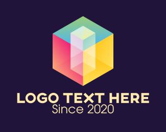 Crate - Colorful 3D Cube logo design