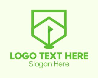 Golf Course - Green Golf Course Flag Shield logo design