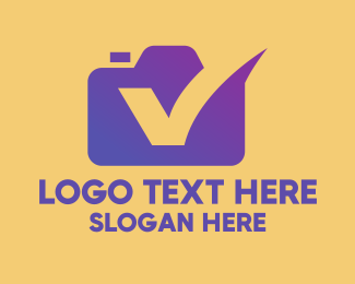 Instagram - Purple Camera Letter V logo design