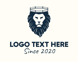 Wrestler - Lion Boxing Ring logo design