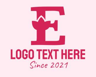 Alphabet - Pink Letter E Flower logo design