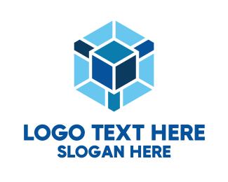 """""""Blue Cube Hexagon"""" by royallogo"""