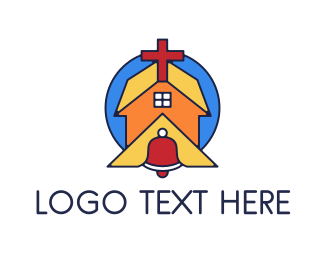 Christ - Geometric Church Bell logo design