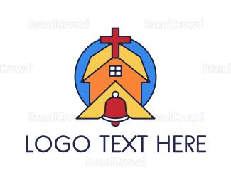 Bell - Geometric Church Bell logo design