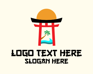 Nippon - Japanese Shrine Beach  logo design