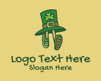 Running - Running Leprechaun Hat logo design