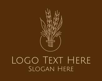 Produce - Minimalist Wheat Grain logo design