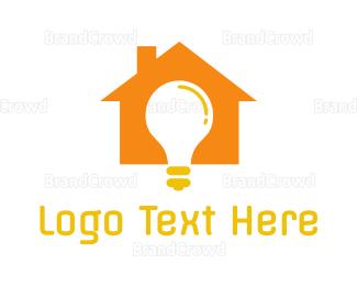 Bulb - Orange House Bulb logo design