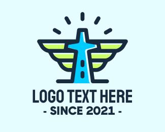 Baptismal - Cross Tower Wings logo design