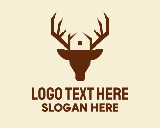 Moose Head - Reindeer Antler House  logo design