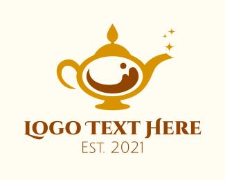 Magic Lamp - Magical Coffee Lamp logo design