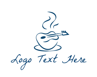 Hot - Hot Guitar Cafe logo design