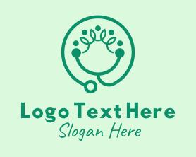 Medical - Green Organic Stethoscope logo design