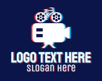 App - Glitchy Bicycle Cinema logo design