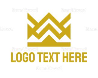 Monarchy - Geometric Crown Outline logo design