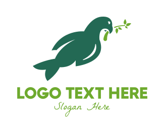 Peace - Green Peace Dove logo design