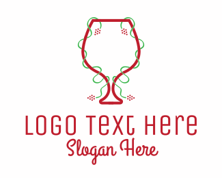 Red Wine - Holiday Wine Glass logo design