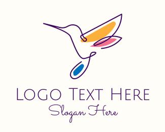 Colibri - Multicolor Hummingbird logo design