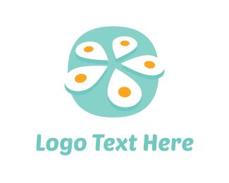 Breakfast - White Flower Egg logo design